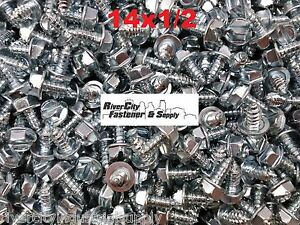 700 14 X 1 2 Slotted Hex Washer Head Self Tapping Sheet Metal Screws Sms