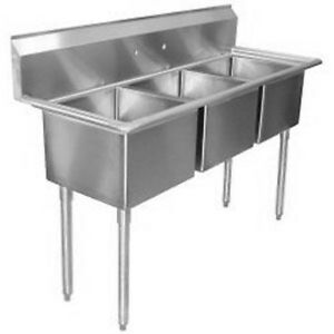 Commercial Stainless Steel 3 Three Compartment Sink 20 X 11 Nsf Pick up Only