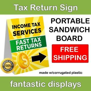 Portable Tax Return Sign Double Sided Sandwich Board Corrugated Plastic