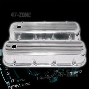 Polished Finned Aluminum Tall Valve Covers For 65 95 Chevy Bb 396 427 454 502