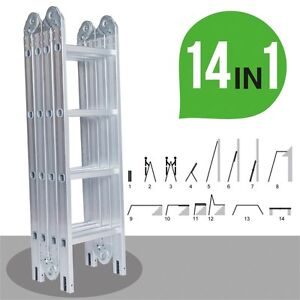 12 5ft Aluminum Multi Purpose Folding Step Ladder Scaffold Extension 2 Platforms