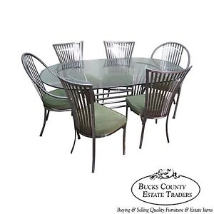 Shaver Howard Steel Frame Dining Table 6 Chairs Set