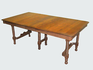 19th C Eastlake Victorian Antique Oak Dining Room Table Expertly Restored