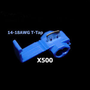 500x Blue 16 14 Awg Scotch Lock T Tap Car Audio Electronics Connectors Terminals