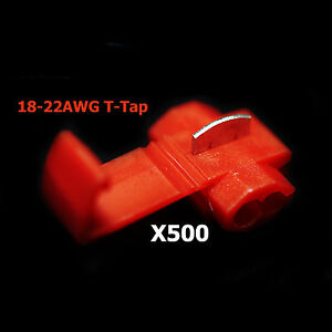 500x Red 22 18 Awg Scotch Lock T Tap Car Audio Electronics Connectors Terminals