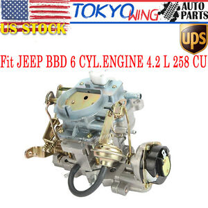 Carb Carburetor Type Carter Engine For Jeep Wagoneer Bbd Cj5 Cj7 2 Barrel 6 Cil