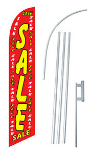 Sale Red W Tall Advertising Banner Flag Complete Sign Kit 2 5 Feet Wide