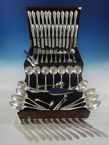 Pointed Antique Engraved Dominick Haff Sterling Silver Flatware Service Set