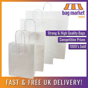 Strong White Twisted Handle Paper Bags Kraft twist gift party fashion carrier