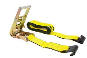 3 X 30 Ratchet Tie down Straps W Flat Hook 15 000 Lbs Capacity Yellow