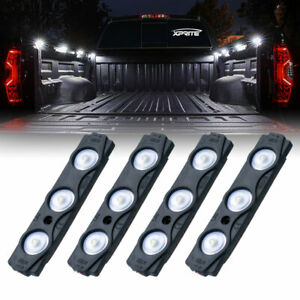 Xprite 4pc 12 Led Strip Pod Panel 4x4 Off Road Jeep Under Body Rock Lights White