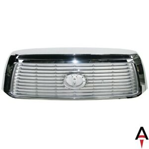 Chrome Grille Shell Surrond With Silver Insert For 2010 2013 Toyota Tundra Truck