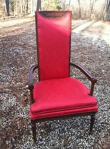 Antique Throne Accent Chair Santa Red Carved Wood High Back Gothic Victorian
