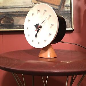 50s George Nelson Howard Miller Wood Table Clock Irving Harper Mid Century Mod