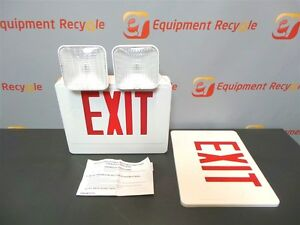Exit Sign And Emergency Light Adjustable Lights Red Dual Sided Lot Of 3 New
