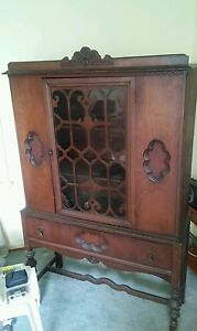 008 Vintage Early 1900 S Curio China Cabinet Press