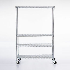 82 x48 x18 Chrome 4 Tier Wire Shelving Rack Heavy Duty Steel Shelf Adjustable
