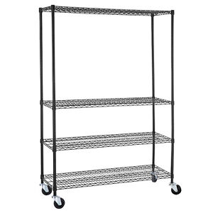 82 x48 x18 Heavy Duty 4 Tier Shelving Rack Steel Wire Metal Shelf Adjustable