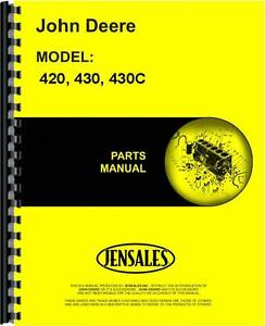 John Deere 420 Tractor 430 Tractor 430c Crawler Parts Manual jd p pc505