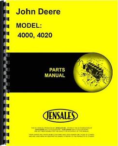 John Deere 4000 4020 Sn 201 000 Up Tractor Parts Manual jd p pc1116