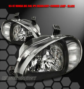 93 97 Honda Del Sol Crystal Head Lights W corner Signal Jdm Black S Si Vtec 2in1