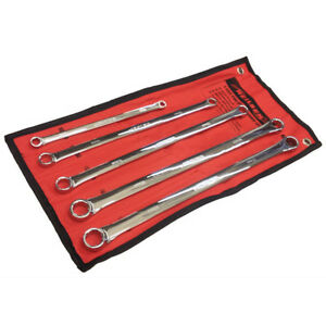 5 X Extra Long Chrome 24cm To 40cm Ring Spanner Garage Mechanics Workshop Tool