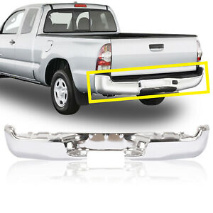 Rear Chrome Steel Step Bumper Face Bar For 2005 2015 Toyota Tacoma Pickup Truck