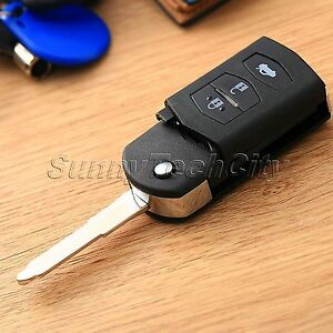 3 Button Folding Flip Key Fob Shell Case Pad For Mazda 3 6 2003 2011