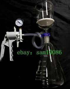 2000ml glass Suction Filtration Kit buchner Funnel erlenmeyer Flask vacuum Pump