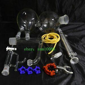 Essential Oil Steam Distillation Kit graham Condenser all Glassware Clamps new