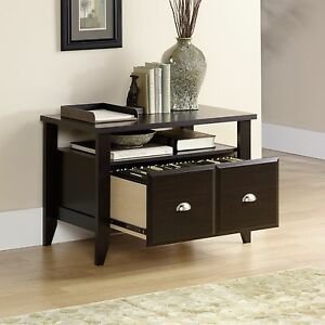 File Cabinet Wood 2 Drawer Home Office Filing Storage Brown Finish Open Shelf