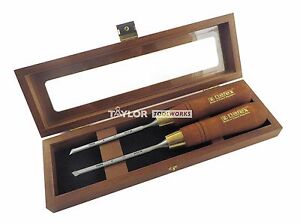 Narex Pair Right Left 6 Mm 1 4 Skew Paring Chisels In Wooden Box 851656