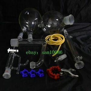 Essential Oil Steam Distillation Kit liebig Condenser all Glassware Clamps new