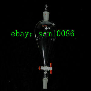 1000ml glass Separatory Funnel pear Shape 24 40 ptfe Stopcock ground Joint lab