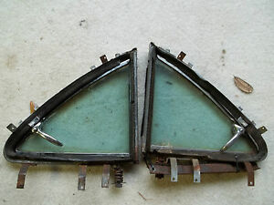 1953 Buick Rear Vent Window Frame Glass W latch Pr