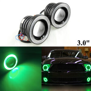 2 High Power 3 0 Car Truck Led Fog Light Lamp W Green Cob Halo Angel Eye Rings