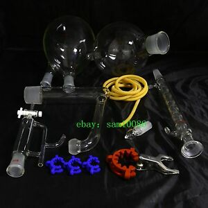 Essential Oil Steam Distillation Kit allihn Condenser all Glassware Clamps new