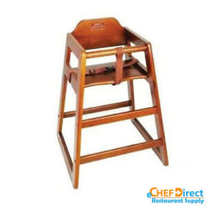 Restaurant Wooden High Chair Child Seat With Seat Belt Walnut Finish