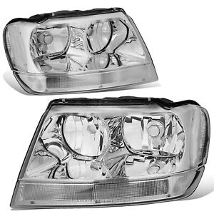 Fit 1999 2004 Jeep Grand Cherokee Chrome Housing Clear Corner Headlight lamp Set