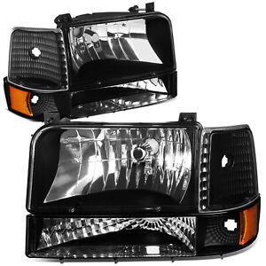 Fit 1992 1996 Ford F150 f250 f350 Black Bumper Headlights amber Corner Lamp