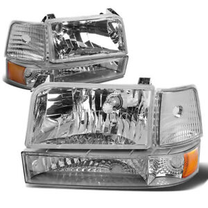 Fit 1992 1996 Ford F150 f250 f350 Chrome Bumper Headlights amber Corner Lamp