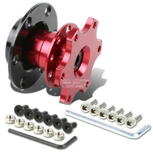 Universal Jdm 2 6 Hole Bolt Steering Wheel Quick Release Hub Adapter Kit Red