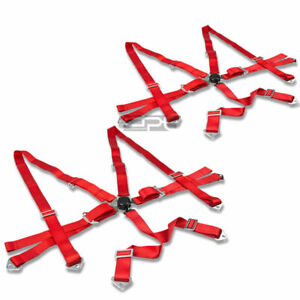 6 point 2 Red Nylon Strap Harness Safety Adjustable Camlock Racing Seat Belt X2