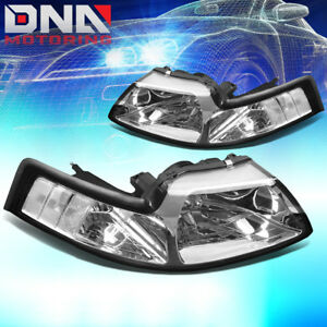 For Ford Mustang 1999 2004 Gt cobra Euro Chrome Housing Clear Corner Headlights