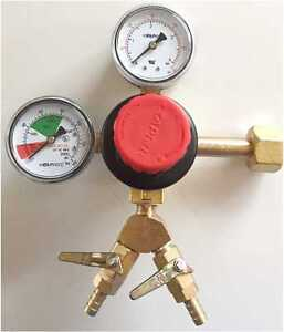 Taprite Co2 Beer Regulator Double Gauge Double 5 16 Check Valve Kegerator