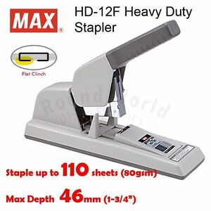 Max Hd 12f Heavy Duty Flat Clinch Stapler Staple Up To 110 Pages Made In Japan