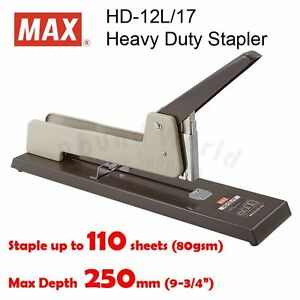 Max Hd 12l 17 Heavy Duty Stapler staple Up To 110 Pages Made In Japan