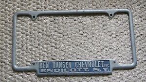 Rare Ben Hanson Chevrolet Inc Endicott N y Dealership License Plate Frame Old