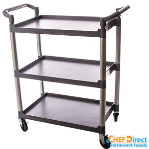 Commercial Polyurethane 3 tier Black Restaurant Bus Cart Grey