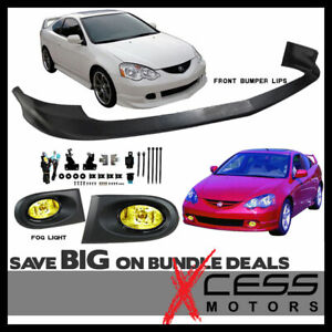 Fits Acura Rsx Front Bumper Lip Poly Urethane Pu Material Yellow Fog Lights